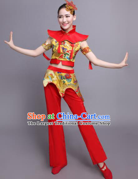 Chinese Traditional Classical Dance Yangko Costume Drum Dance Folk Dance Dress for Women