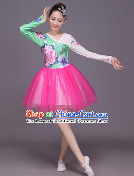 Chinese Classical Dance Costume Traditional Folk Dance Rosy Veil Dress for Women