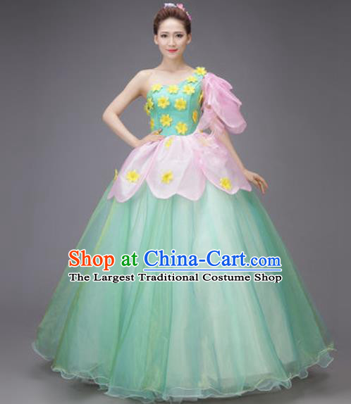 Professional Modern Dance Dress Opening Dance Stage Performance Chorus Green Veil Costume for Women