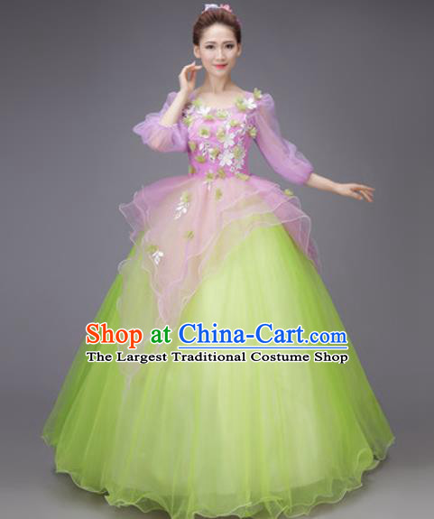 Professional Modern Dance Purple Dress Opening Dance Stage Performance Chorus Costume for Women