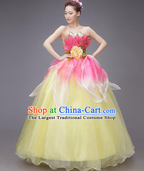 Professional Modern Dance Yellow Dress Opening Dance Stage Performance Chorus Costume for Women