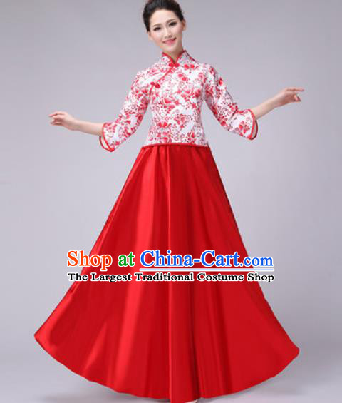 Chinese Classical Dance Fan Dance Costume Traditional Folk Dance Chorus Red Dress for Women