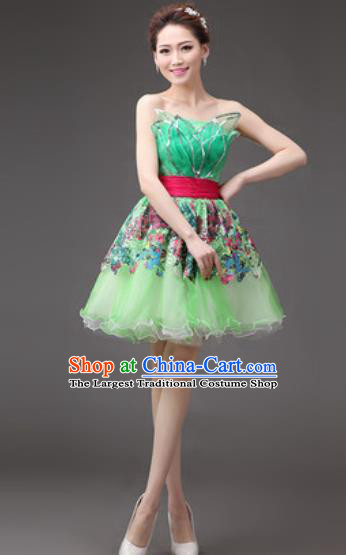 Professional Modern Dance Green Bubble Dress Opening Dance Stage Performance Costume for Women