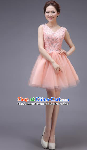 Professional Modern Dance Pink Bubble Dress Opening Dance Stage Performance Bridesmaid Costume for Women