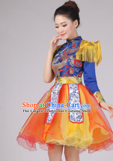 Chinese Classical Dance Drum Dance Costume Traditional Folk Dance Yangko Dress for Women