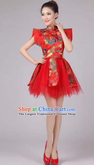 Chinese Classical Dance Drum Dance Costume Traditional Folk Dance Yangko Red Dress for Women