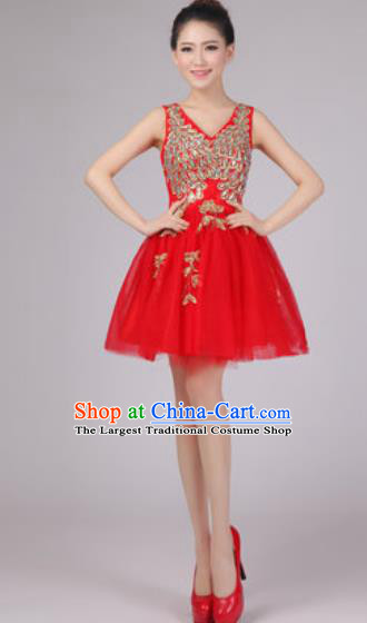 Professional Modern Dance Red Bubble Dress Opening Dance Stage Performance Costume for Women