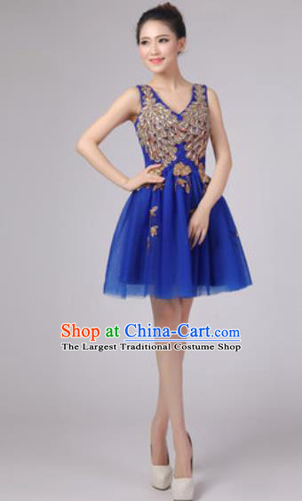 Professional Modern Dance Royalblue Bubble Dress Opening Dance Stage Performance Costume for Women