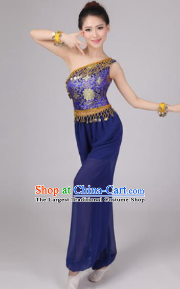Chinese Classical Dance Drum Dance Costume Traditional Folk Dance Yangko Blue Clothing for Women