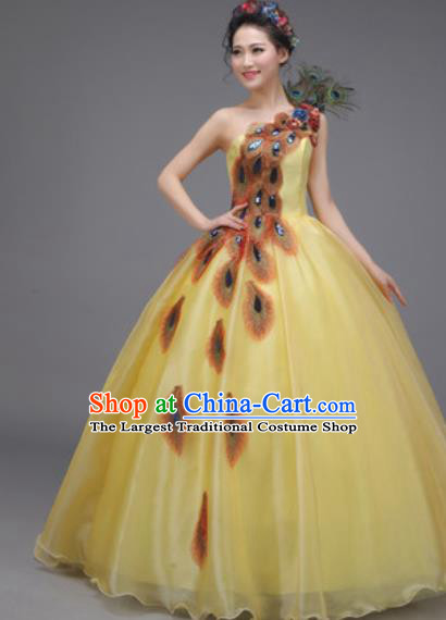 Top Grade Chorus Costume Professional Modern Dance Opening Dance Stage Performance Yellow Dress for Women