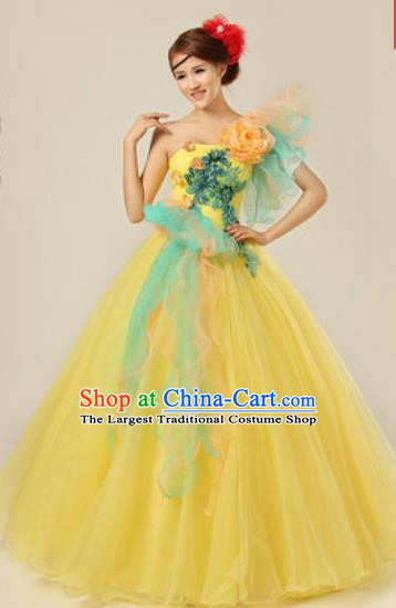 Top Grade Modern Dance Costume Ballroom Waltz Stage Performance Chorus Yellow Dress for Women