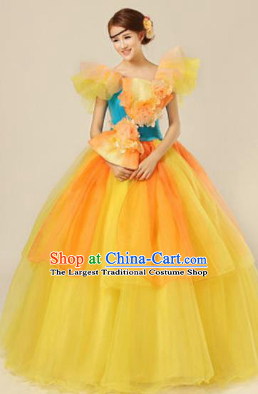 Top Grade Modern Dance Yellow Costume Ballroom Waltz Stage Performance Chorus Dress for Women