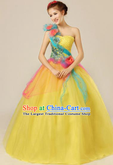 Top Grade Chorus Compere Yellow Veil Costume Modern Dance Ballroom Waltz Stage Performance Dress for Women