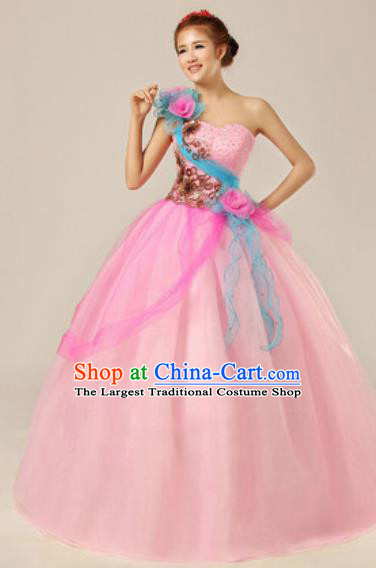 Top Grade Chorus Compere Pink Veil Costume Modern Dance Ballroom Waltz Stage Performance Dress for Women