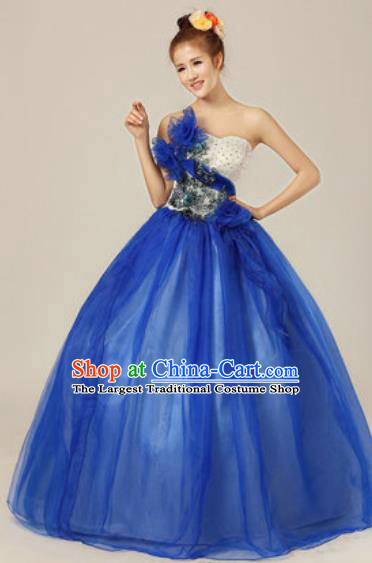 Top Grade Chorus Compere Blue Veil Costume Modern Dance Ballroom Waltz Stage Performance Dress for Women