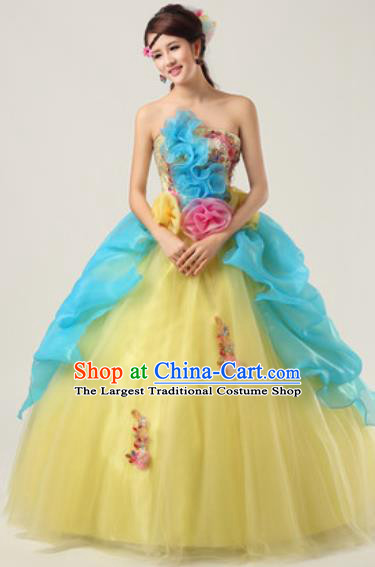 Top Grade Waltz Dance Compere Yellow Costume Modern Dance Stage Performance Dress for Women