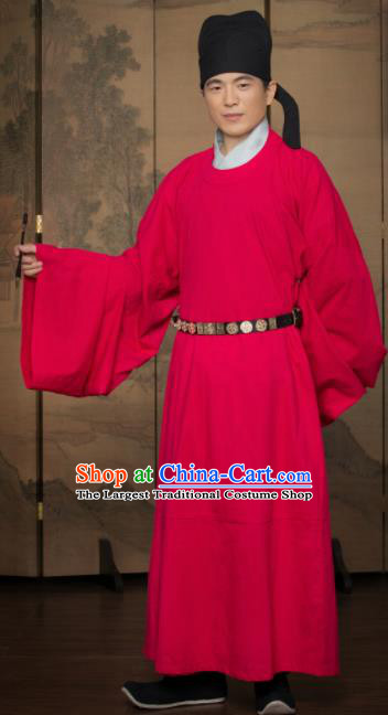 Chinese Traditional Song Dynasty Gentleman Replica Costumes Ancient Scholar Red Robe for Men