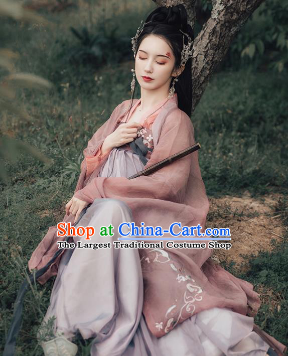 Chinese Ancient Princess Embroidered Costumes Traditional Tang Dynasty Imperial Consort Hanfu Dress for Women