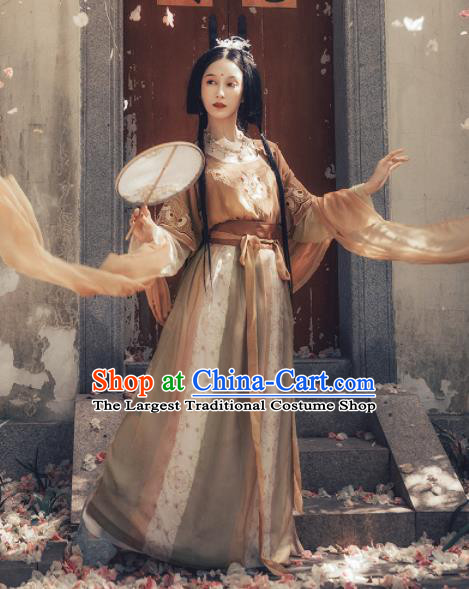Chinese Ancient Apsara Embroidered Costumes Traditional Tang Dynasty Palace Princess Hanfu Dress for Women