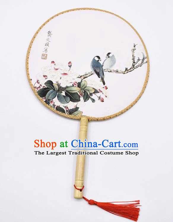 Chinese Ancient Palace Fans Handmade Traditional Printing Begonia Silk Round Fans for Women