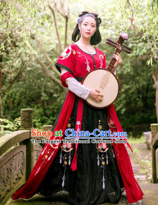 Chinese Ancient Young Lady Costumes Tang Dynasty Princess Embroidered Hanfu Dress for Women