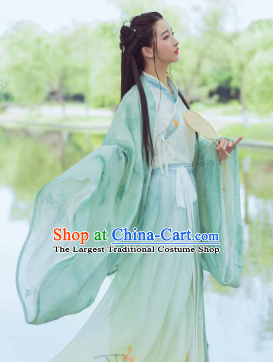 Chinese Ancient Maidenform Costumes Jin Dynasty Princess Embroidered Green Hanfu Dress for Women