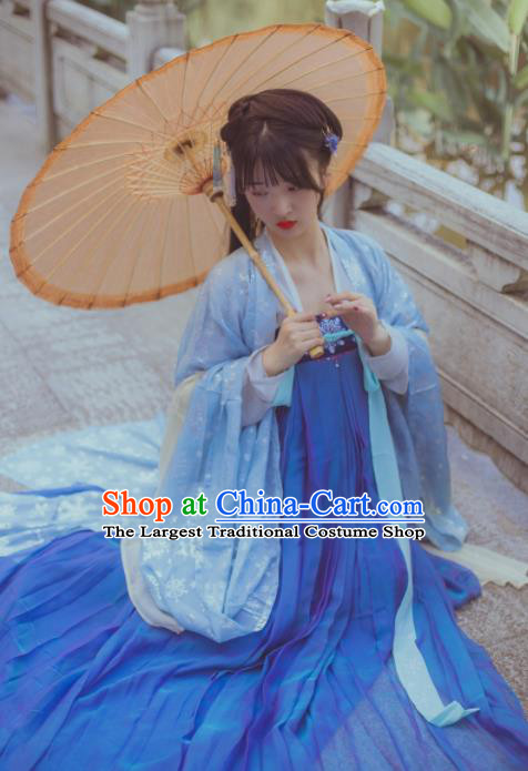Chinese Ancient Maidenform Costumes Tang Dynasty Princess Embroidered Blue Hanfu Dress for Women