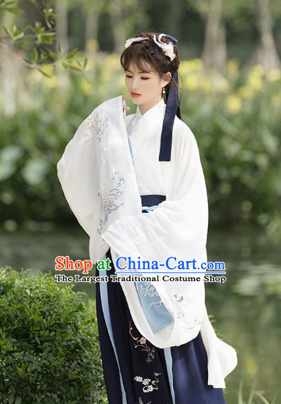 Ancient Chinese Jin Dynasty Princess Costumes Fairy Embroidered Hanfu Dress for Women