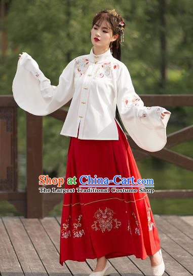 Ancient Chinese Ming Dynasty Princess Costumes Fairy Embroidered Hanfu Dress for Women