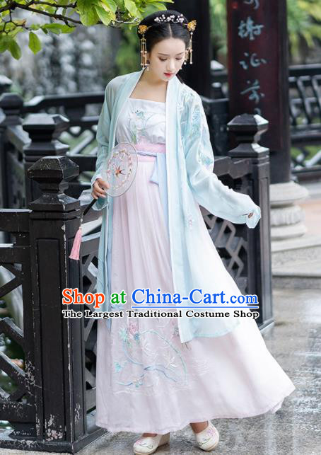 Chinese Tang Dynasty Costumes Ancient Princess Embroidered Hanfu Dress for Women