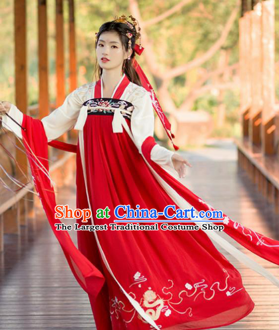 Chinese Tang Dynasty Peri Costumes Ancient Palace Princess Embroidered Red Hanfu Dress for Women
