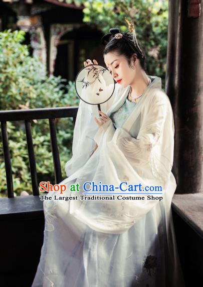 Chinese Traditional Jin Dynasty Princess Embroidered Wide Sleeve Cardigan Ancient Maidenform Costumes for Women
