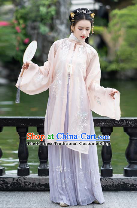 Ancient Chinese Ming Dynasty Historical Costumes Palace Lady Hanfu Dress for Women