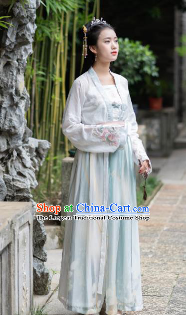 Ancient Chinese Song Dynasty Historical Costumes Nobility Lady Embroidered Hanfu Dress for Women