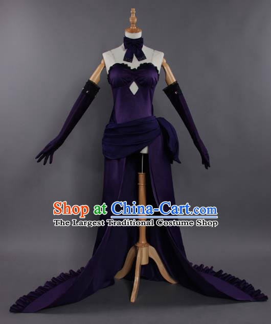 Chinese Traditional Cosplay Female Knight Costumes Ancient Swordswoman Purple Dress for Women