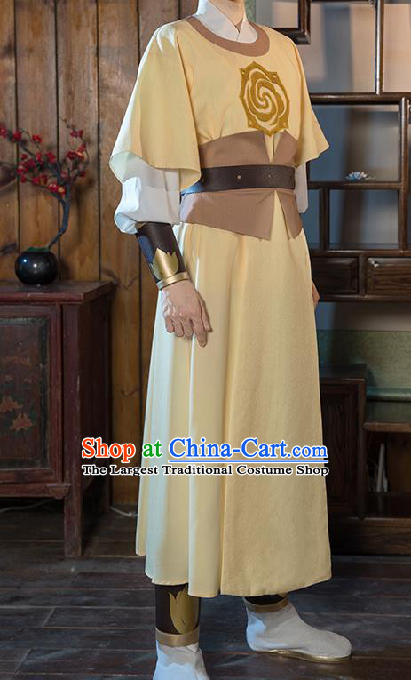 Chinese Traditional Cosplay Nobility Childe Costumes Ancient Swordsman Yellow Robe for Men