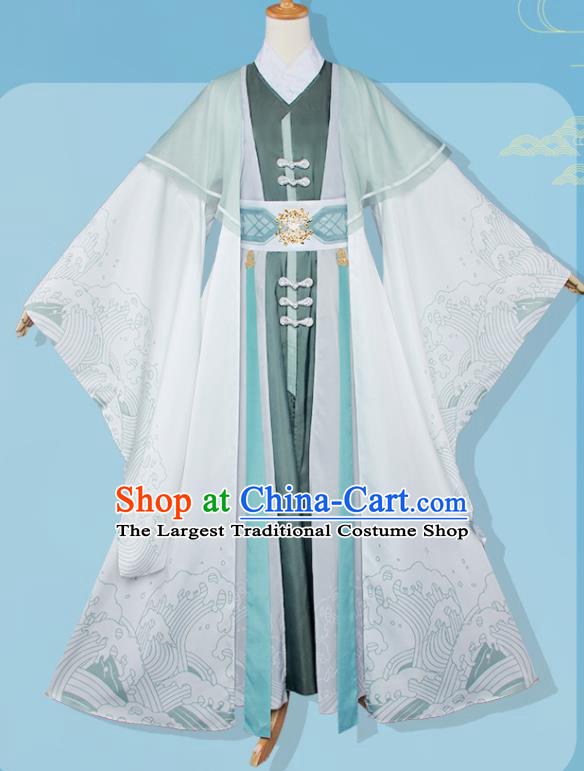 Chinese Traditional Cosplay Swordsman Green Costumes Ancient Nobility Childe Clothing for Men