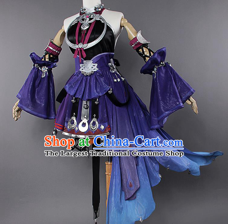 Chinese Traditional Cosplay Kung Fu Instructor Costumes Ancient Swordswoman Purple Dress for Women