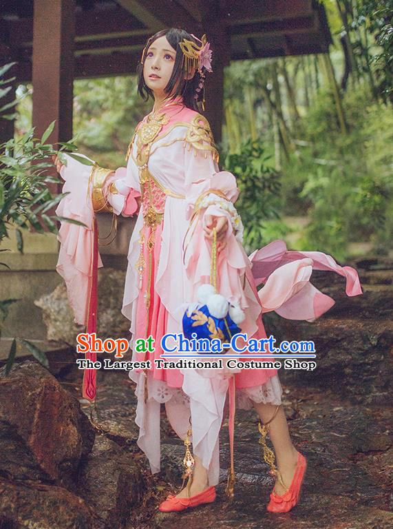 Chinese Traditional Cosplay Swordsman Pink Costumes Ancient Female Knight Dress for Women
