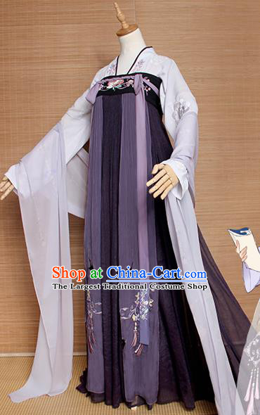 Top Grade Chinese Cosplay Princess Costumes Ancient Tang Dynasty Palace Lady Purple Dress for Women