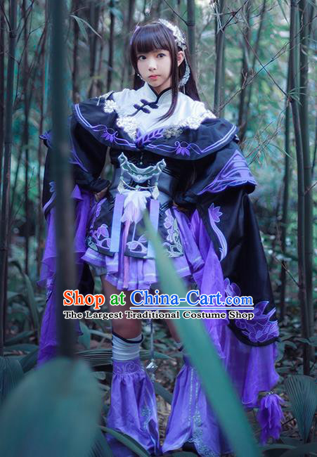 Top Grade Chinese Cosplay Costumes Ancient Young Lady Swordswoman Purple Dress for Women