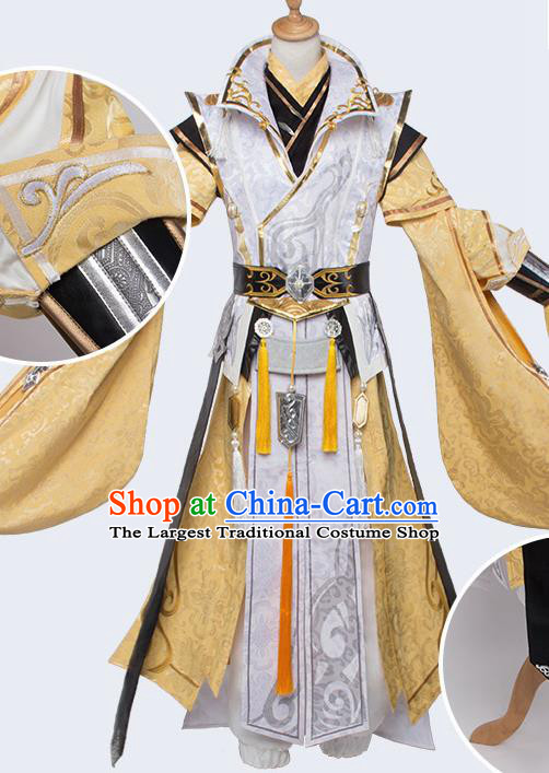 Chinese Traditional Cosplay Royal Highness Costumes Ancient Swordsman Golden Clothing for Men