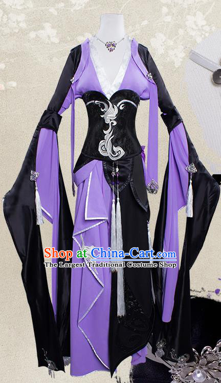 Top Grade Cosplay Female Warrior Costumes Chinese Ancient Swordsman Purple Dress for Women