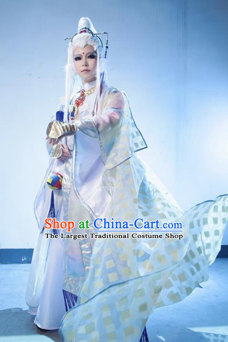 Top Grade Chinese Ancient Cosplay Taoist Priest Swordsman White Costumes for Men