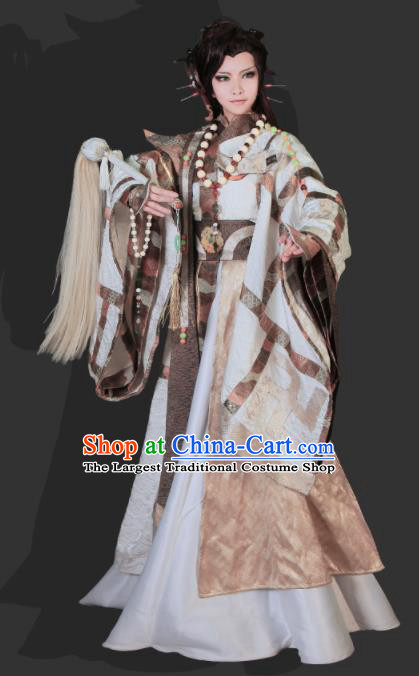 Top Grade Chinese Ancient Cosplay Swordsman Taoist Priest Costumes for Men