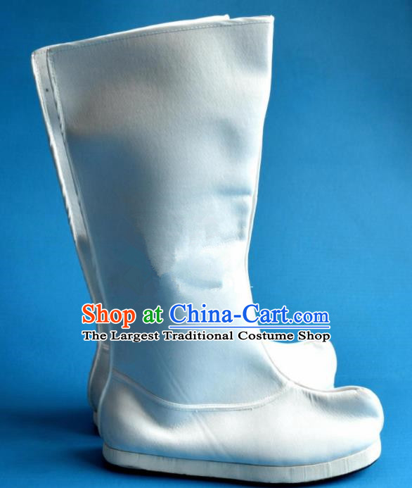 Chinese Traditional Beijing Opera Takefu Shoes Ancient Han Dynasty Swordsman White Boots for Men