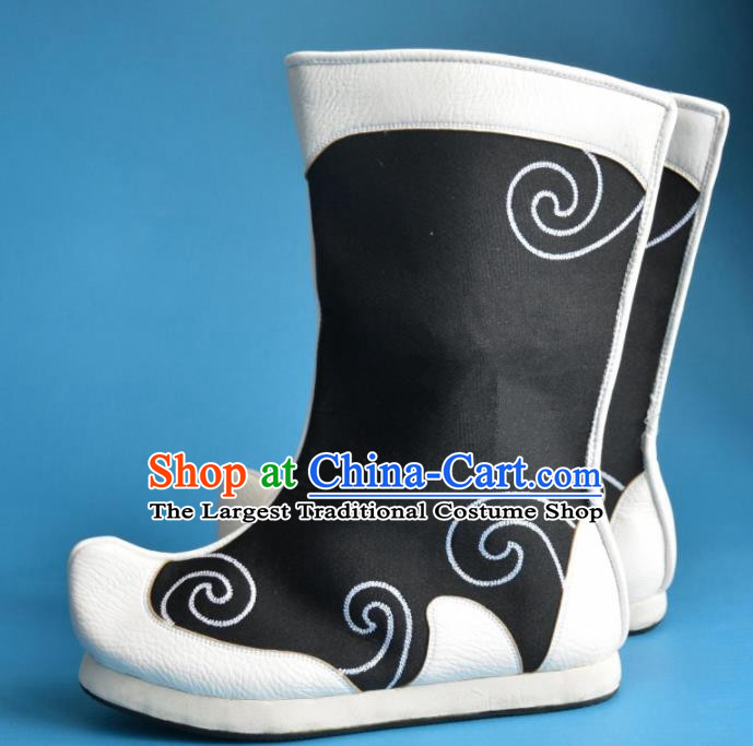 Chinese Traditional Beijing Opera Takefu Shoes Ancient Swordsman Black Boots for Men