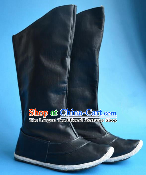 Chinese Traditional Beijing Opera Takefu Shoes Ancient Qing Dynasty Warrior Black Leather Boots for Men