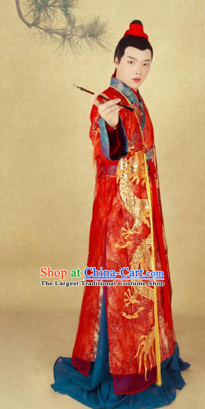 Chinese Ancient Bridegroom Red Clothing Tang Dynasty Nobility Childe Wedding Historical Costumes for Men