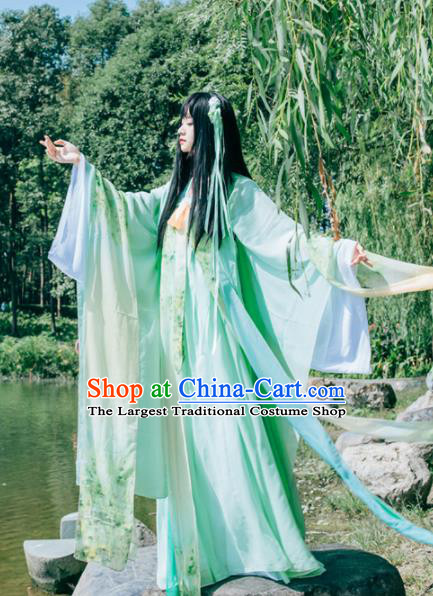 Chinese Ancient Peri Princess Green Hanfu Dress Embroidered Costumes for Women